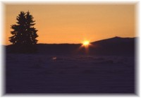 Aufgang der Sonne in Hohe Tatra