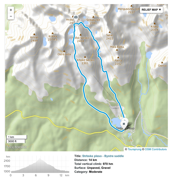 High Tatras day hike from Strbske Pleso to Bystre saddle.
