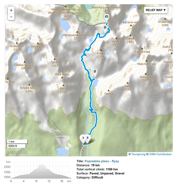High Tatras day hike from Popradske pleso train station to Rysy peak.