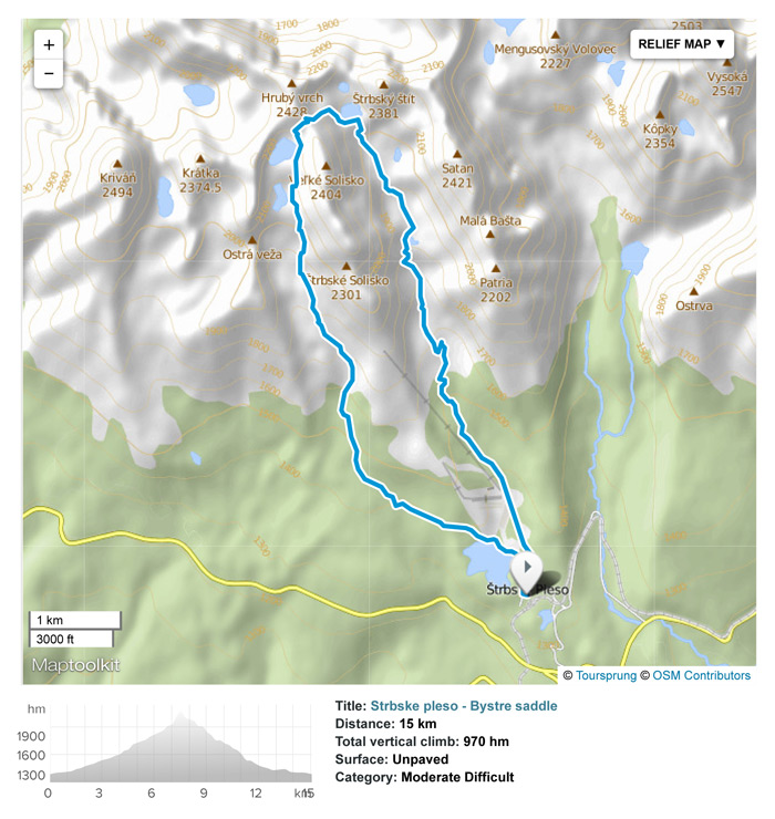 Hike from Strbske pleso to Bystra lavka saddle. Train/Bus to Poprad town.