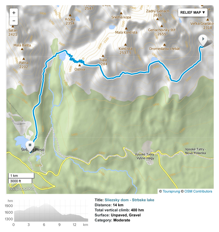 Hike from Sliezsky dom mountain hotel to Strbske pleso.