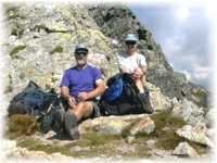 Rest during the way on the top of Slovkovsky peak